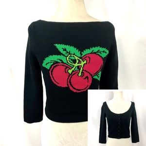 Vintage Betsey Johnson Cropped Intarsia Sweater